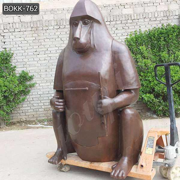 Custom Made Large Bronze Orangutan Fireplace Statue