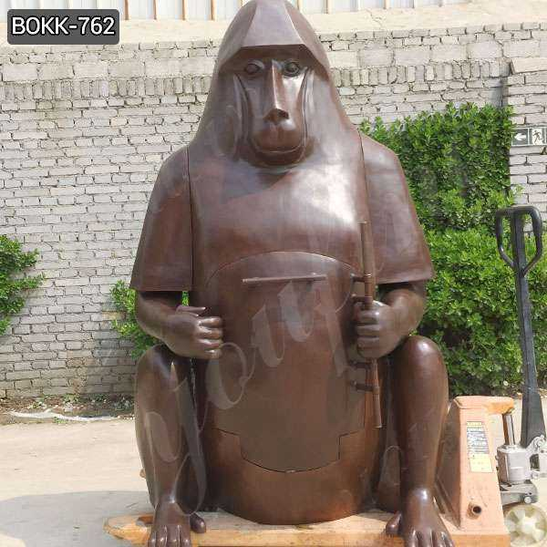 Custom Made Large Bronze Orangutan Fireplace Statue for Garden BOKK-762