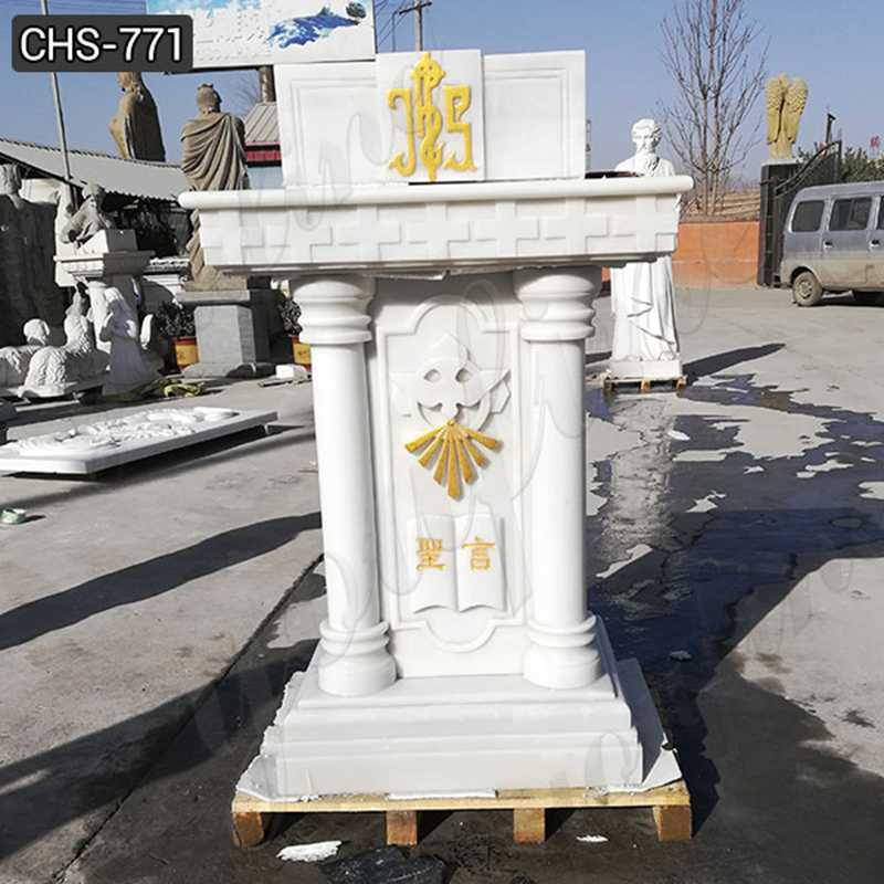Custom Made Natural Marble Religious Church Pulpit for Sale