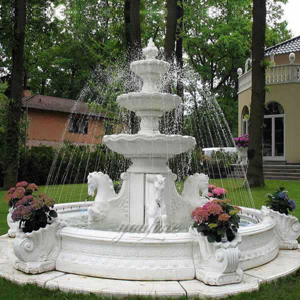 Decoration 3 Tiered Marble Water Fountain With Animal Statues Design