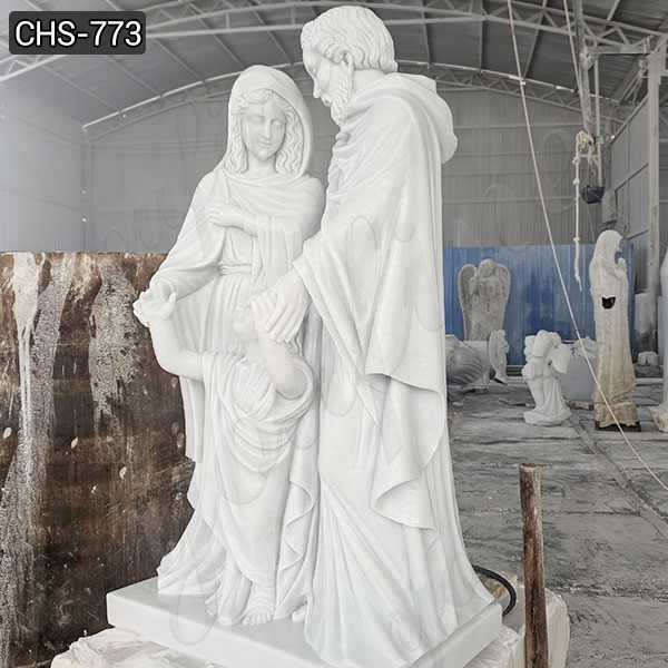 Hand Carved Marble Life Size Holy Family Statue for Sale