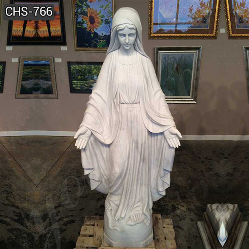 Hand Carved Religious White Marble Our Lady of Grace Statue