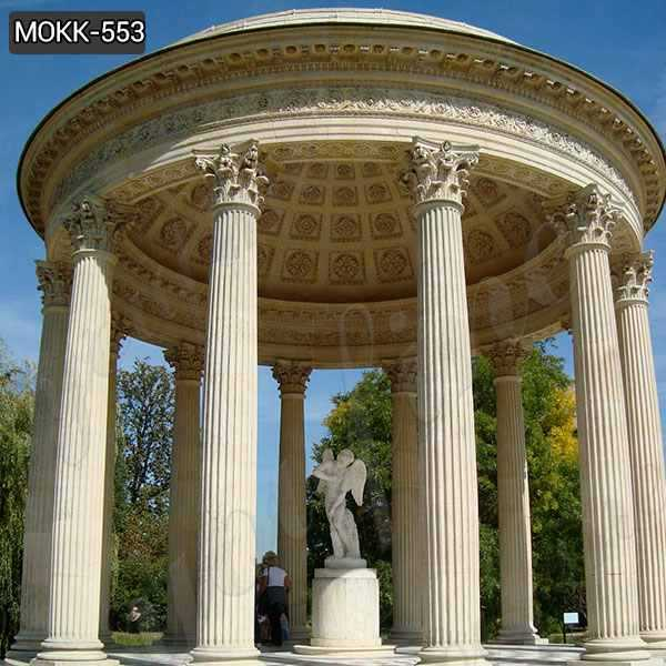 Large Outdoor Beige Marble Column Gazebo Manufacturer MOKK-553