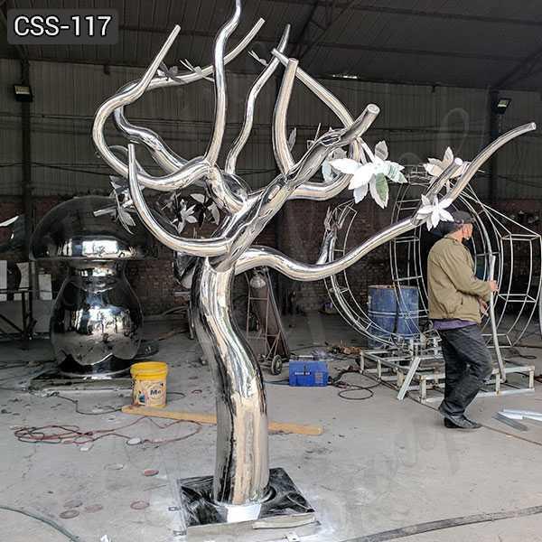 Large Outdoor Modern Metal Stainless Steel Tree Sculpture