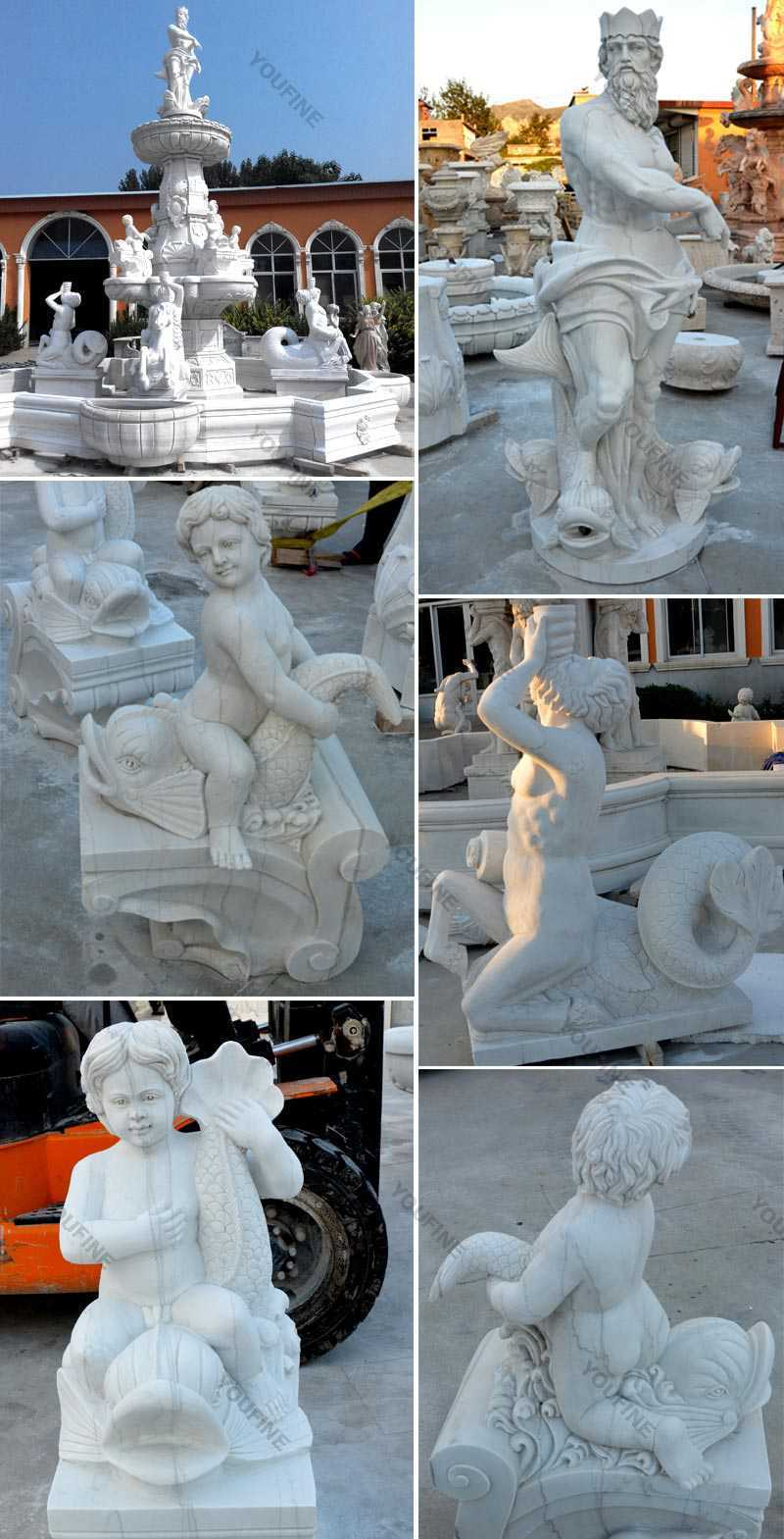 Large Outdoor White Marble Tiered Statuary Fountain