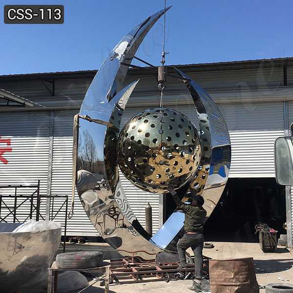 Cheap Price Abstract Large Stainless Steel Ball Sculpture for Sale CSS-113