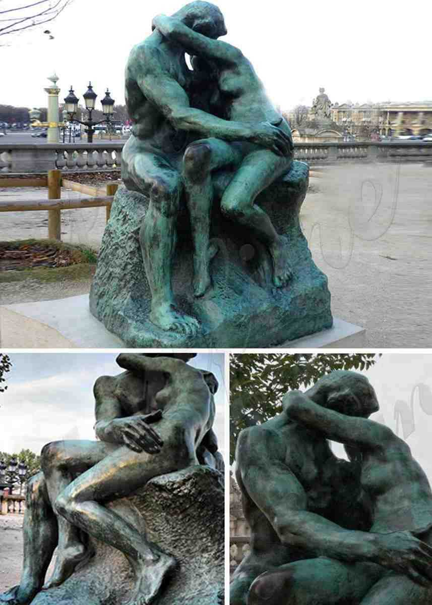 Life Size Antique Auguste Rodin the Kiss Bronze Statue
