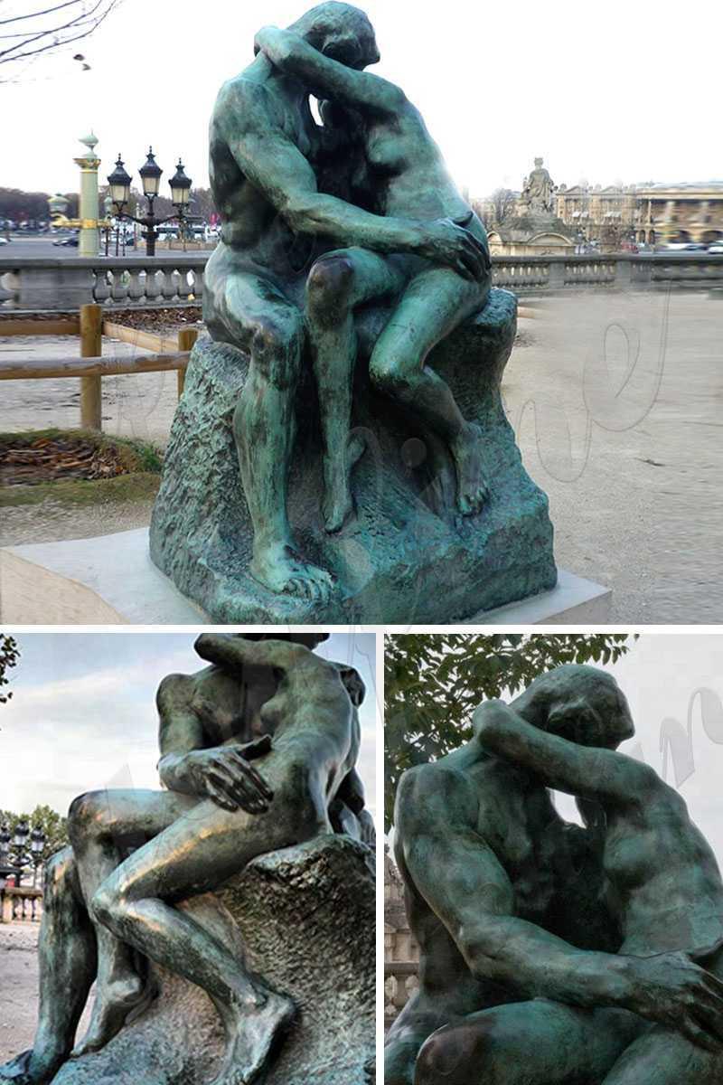 Life Size Antique Auguste Rodin the Kiss Bronze Statue