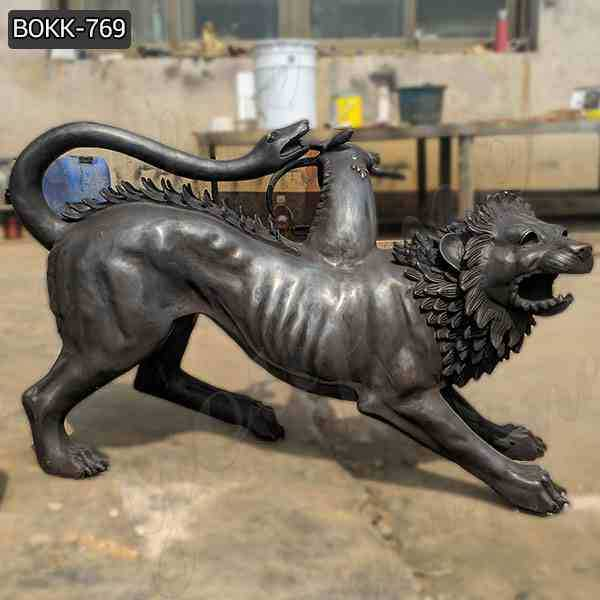 Life Size Chimera Bronze Spitfire Three Monster Statue for Sale