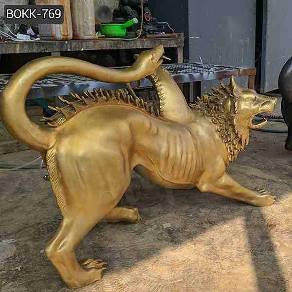 Life Size Chimera Bronze Spitfire Three Monster Statue