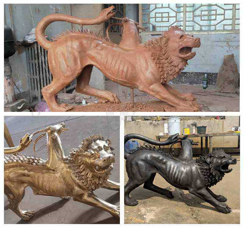Life Size Chimera Bronze Spitfire Three Monster Statues