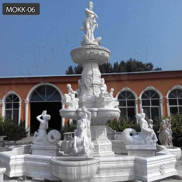 Luxurious Large Outdoor White Marble Tiered Statuary Fountain