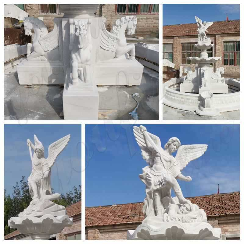 Marble Fountain with St Michael and Horse Statue