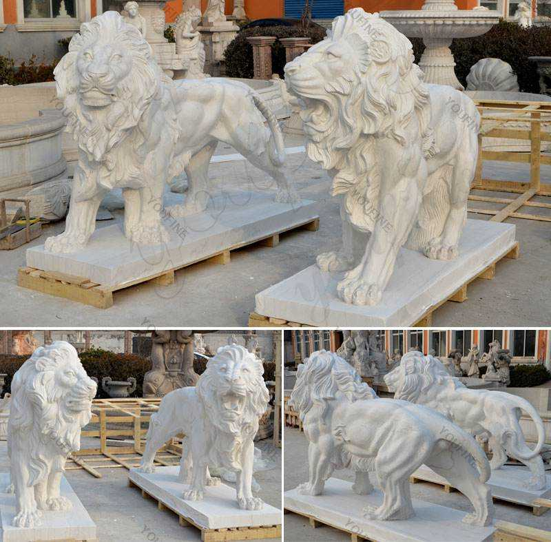 Marble Statue Roaring And Standing Lion Statue