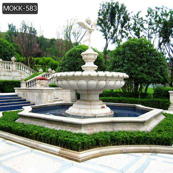 Marble Water Fountain with Little Angel Statue for Garden