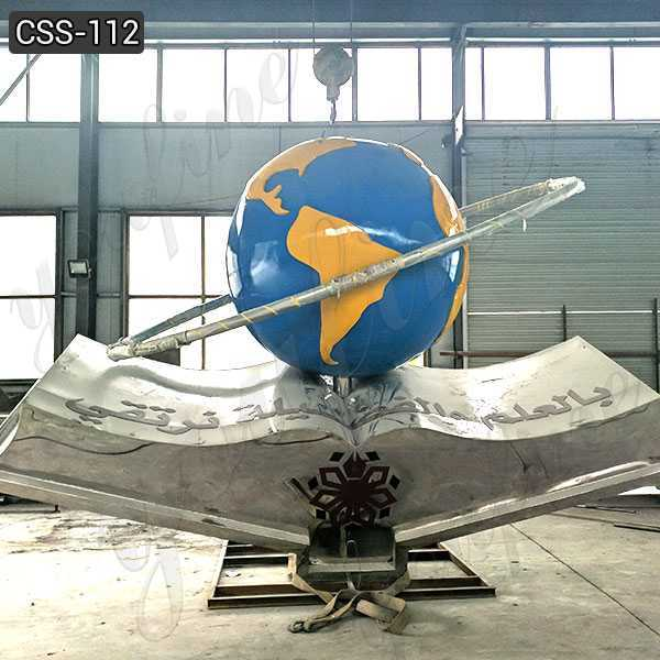 Modern Large Stainless Steel Earth Sculpture for Outdoor Decor