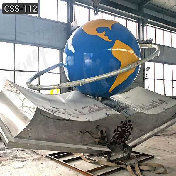 Modern Large Stainless Steel Earth Sculpture