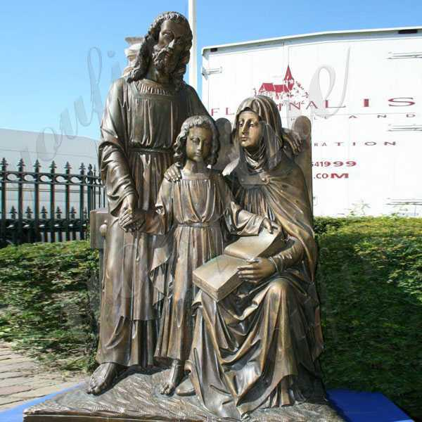 Outdoor Mary Joseph and Little Jesus Bronze Statue for Sale