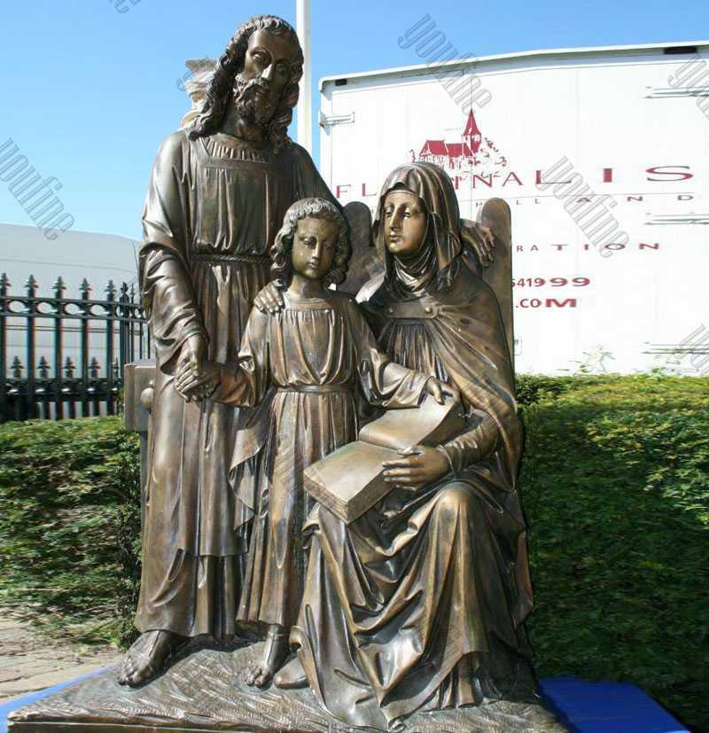 Outdoor Mary Joseph and Little Jesus Bronze Statue