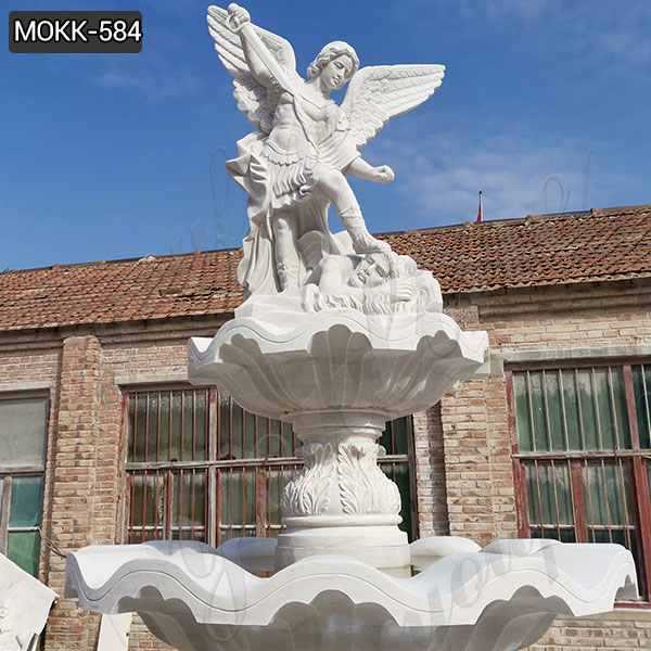 Tiered Marble Fountain with St Michael and Horse Statue Supplier