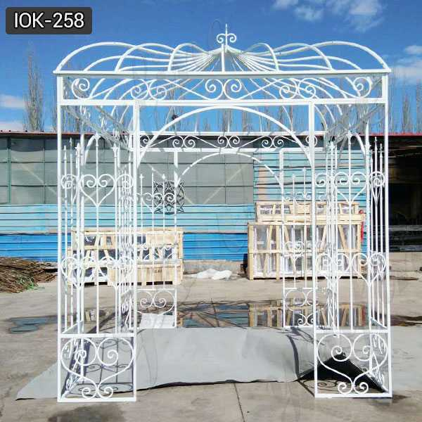Beautiful Wrought White Iron Gazebo for Outdoor or Wedding Decor for Sale IOK-258