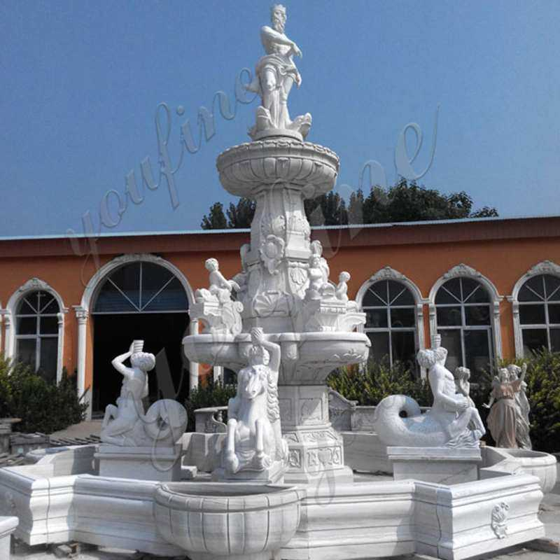 grand white tiered garden water fountain with pond for sale