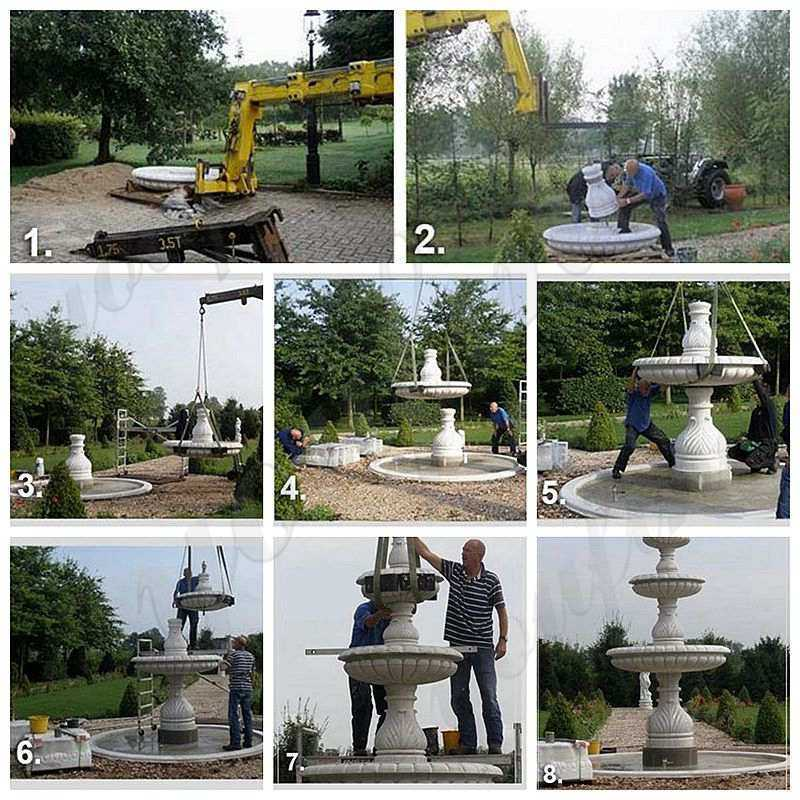 installation of marble fountain