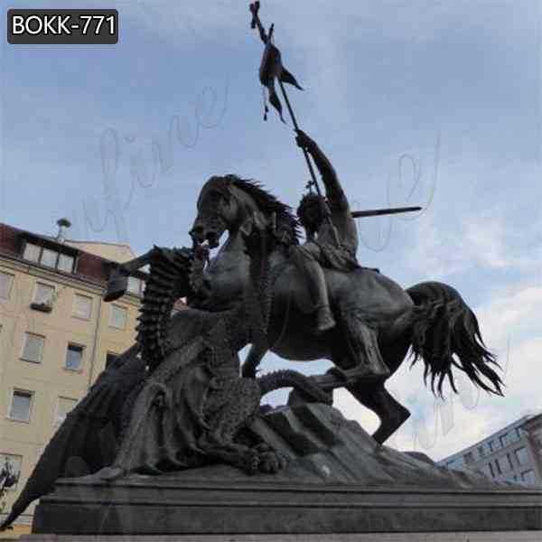 Antique Cast Bronze St George killing Dragon Statue for Sale