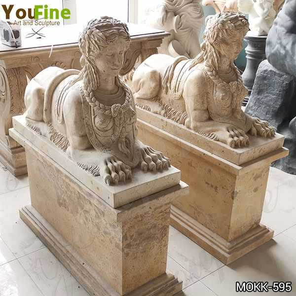 Antique Large Yellow Marble Sphinx Statues for European Supplier