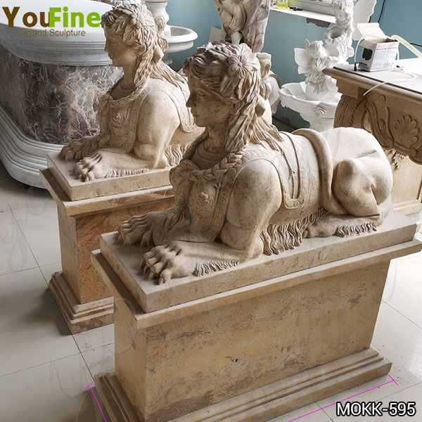 Antique Large Yellow Marble Sphinx Statues for European
