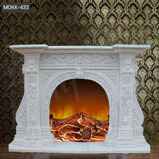 Beautiful Hand Carved with Floral Patterns Marble Fireplace Mantel Supplier MOKK-433