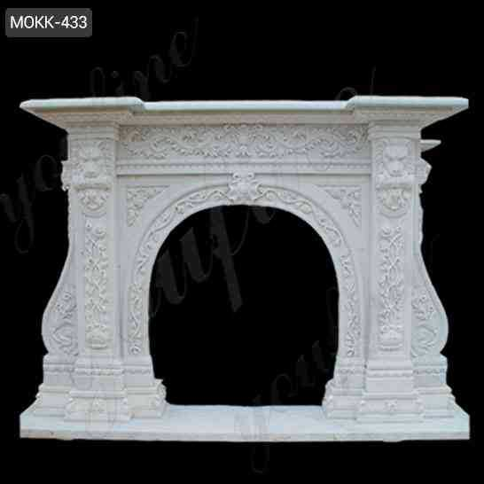 Beautiful Hand Carved with Floral Patterns Marble Fireplace Mantel