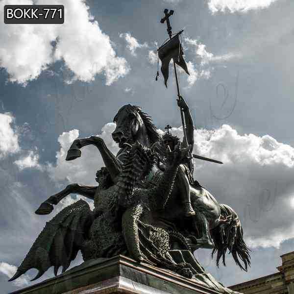 Cast Bronze St George killing Dragon Statue