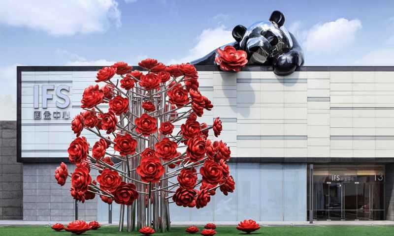 Decorative Flower Sculpture for Outdoor Decor Stainless Steel Sculpture