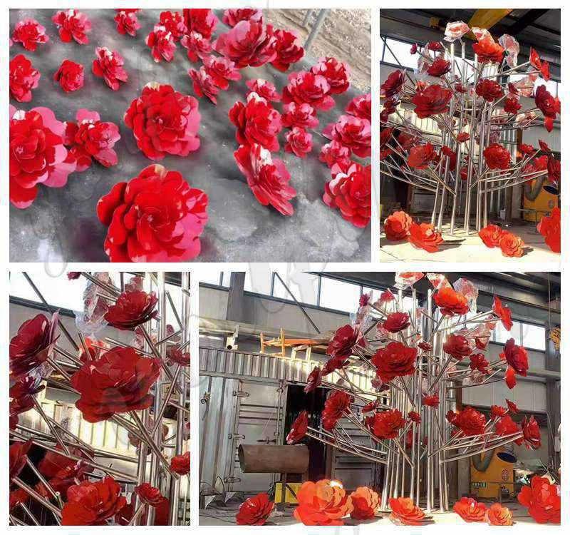 Decorative Flower Sculpture for Outdoor Stainless Steel Sculpture Supplier