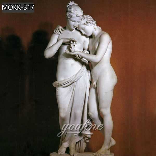 Famous art marble sculptures of antonio canova cupid and psyche standing