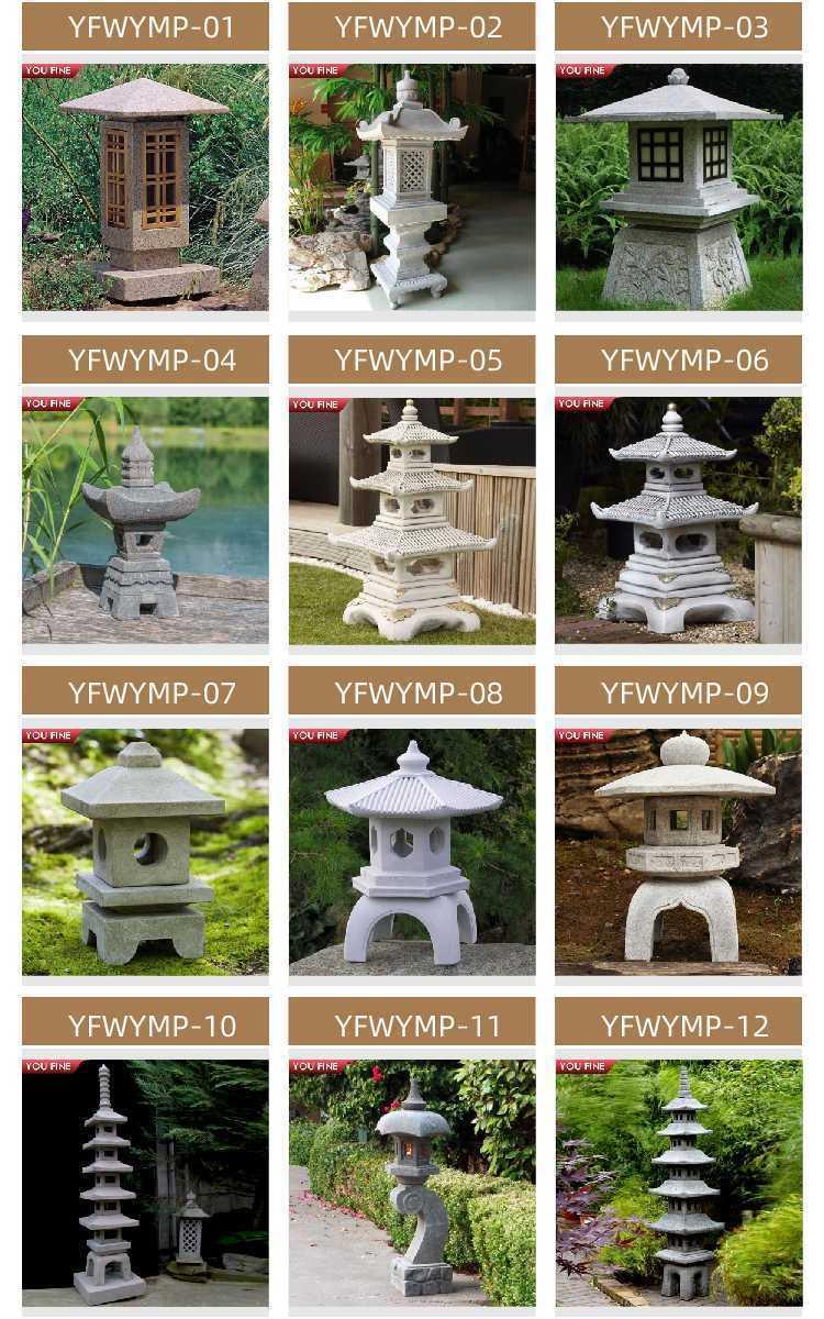 Granite stone lantern for garden decor
