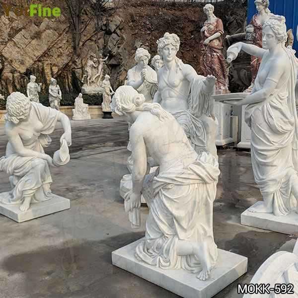 Greek Outdoor White Marble Apollo Bath Statue