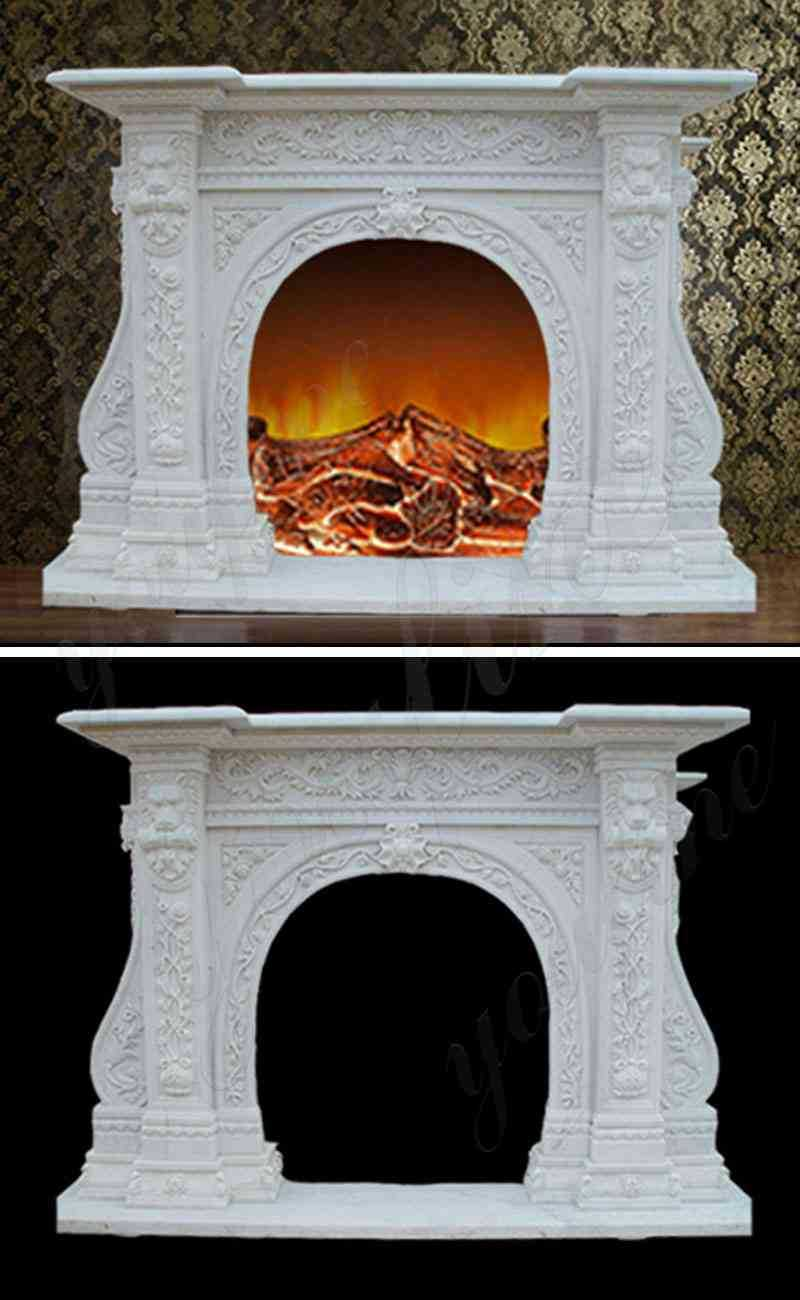 Hand Carved with Floral Patterns Marble Fireplace Mantel Supplier