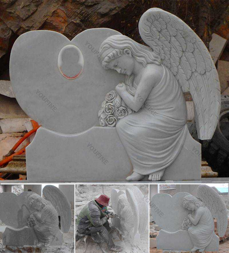 Hand Carved with Hells Angels Marble Headstone on Sale