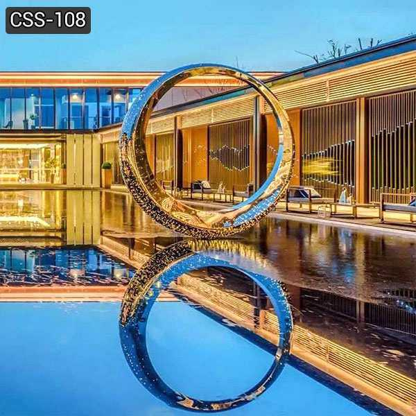 High Polished Modern Stainless Steel Ring Sculpture for Outdoor Decoration