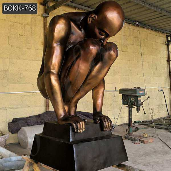 High Quality Casting Antique Bronze Nude Man Statue for Sale BOKK-768