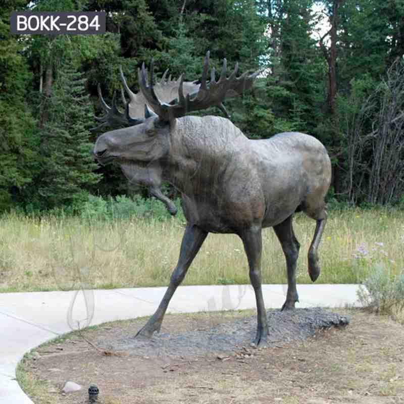 Large Bronze Moose Garden Statue Outdoor Deer Sculpture