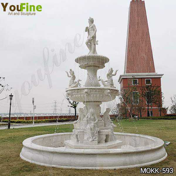Large Carved White Marble Poseidon Water Fountain for Sale