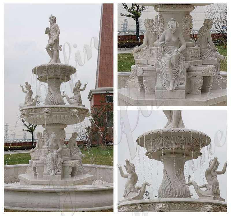 Large Marble Poseidon Water Fountain