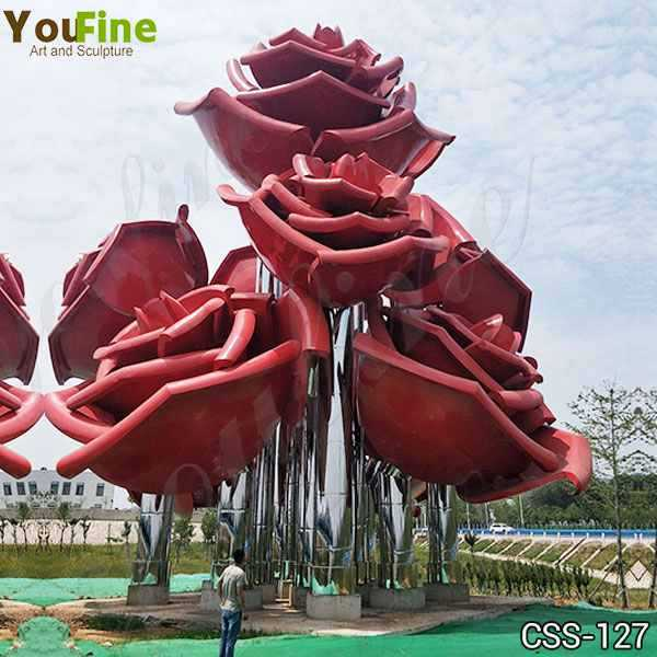 Large Outdoor Rose Stainless Metal Flowers Sculpture for Sale CSS-127