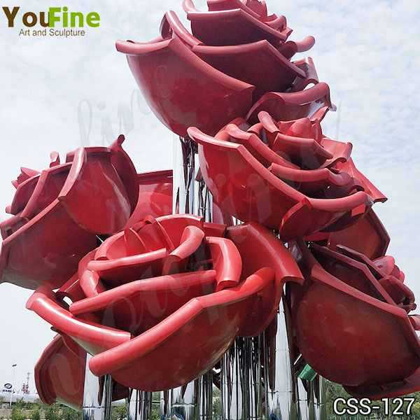 Large Outdoor Rose Stainless Metal Flowers Sculpture for Sale