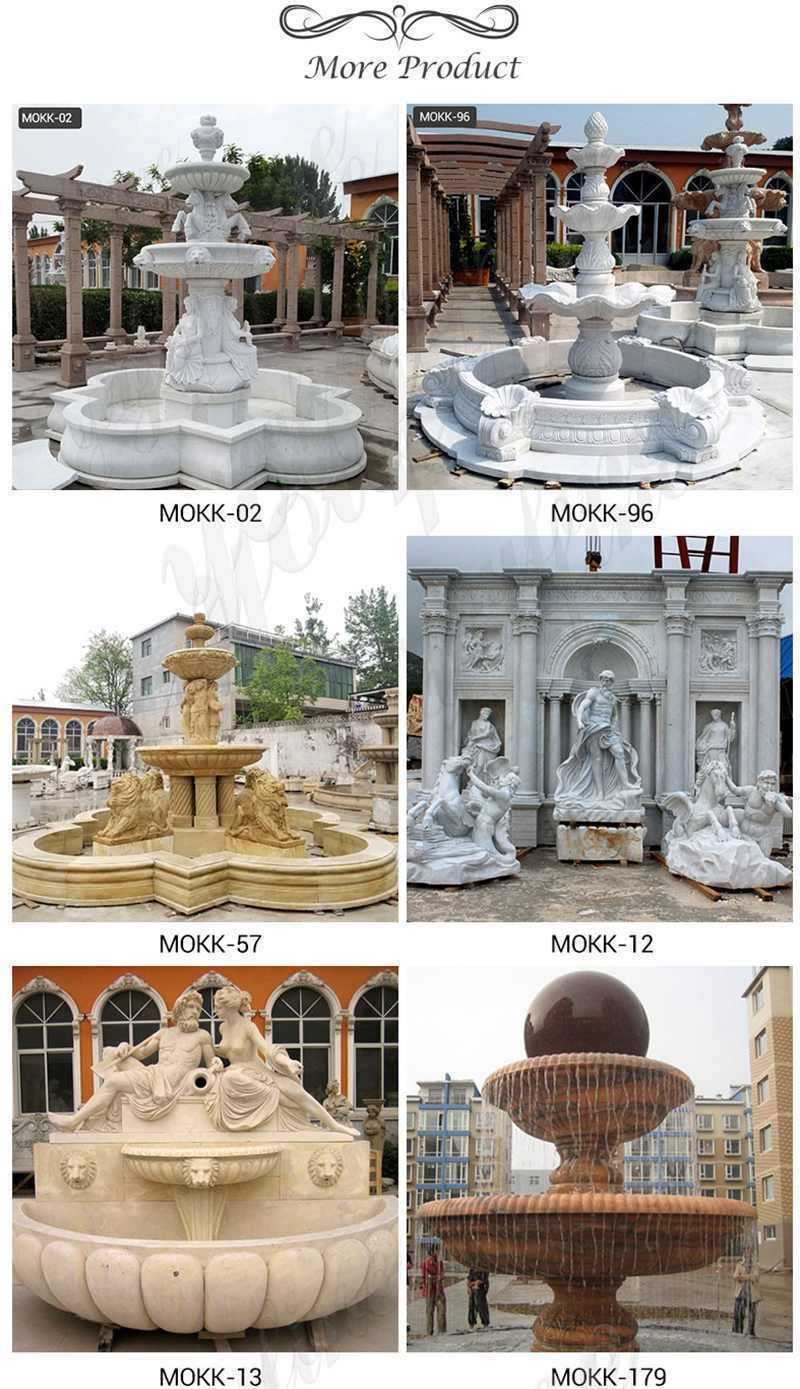 Large White Marble Water Garden Fountain with Poseidon Statue