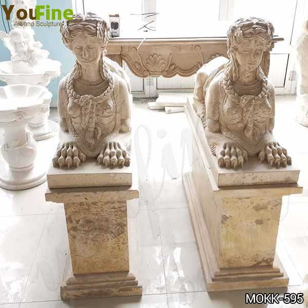 Large Yellow Marble Sphinx Statues for European Supplier
