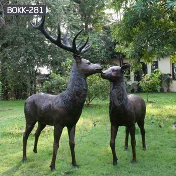 Life Size Bronze Outdoor Deer Statues for Garden Decor for Sale BOKK-281